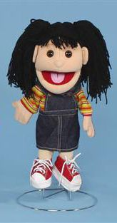 Our black haired cutie glove puppet! Her black yarn hair is pulled up into double pony tails. This girl puppet is completely dressed in a rainbow striped shirt with matching socks, adorable denim overalls, and a pair of red and white tennis shoes. Girl Puppets, Glove Puppets, People Puppets, Hispanic Girls, White Tennis Shoes, Doll Patterns, Black Hair, Pony, Disney Characters
