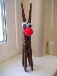 Reindeer craft - cheap and easy! 3 clothespin, pom pom, puff ball, and paint. All can be bought at the dollar store. Craft Activities For Kids, Christmas Activities, Preschool Crafts, Kids Crafts, Easy Crafts, Childrens Christmas, Toddler Christmas, Reindeer Craft, Reindeer Clothespin