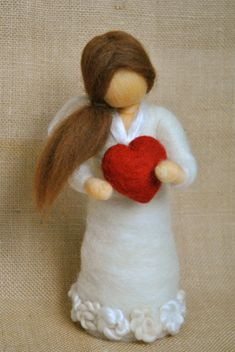 Valentine's Day needle felted doll : Girl with red by MagicWool