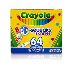 Crayola 58-8764 Washable Marker, Assorted, 64 count (Pack of 2)  Pack of 2  Largest collection of Crayola marker colors in one pack  Great for gift giving  Re-usable flip-top box and tiered sleeves for easy access to markers