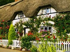 A thatched roof & flowers creeping up the walls...perfection.