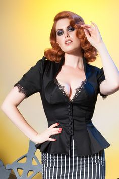 Laura Byrnes Vintage Lilith Top in Black | Pinup Girl Clothing