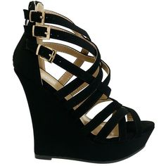 Stephy-95 Black Multi Strappy Zip Back High Wedge ($30) ❤ liked on Polyvore featuring shoes, sandals, wedge sandals, sexy sandals, black strappy sandals, sexy wedge sandals and open toe sandals