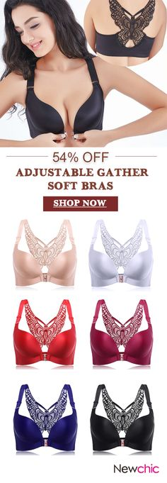 Butterfly Embroidery Front Closure Wireless Adjustable Gather Soft Bras #fashion #style