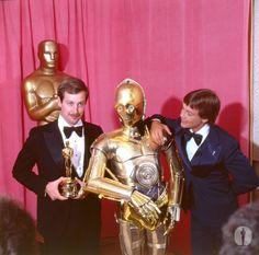 Mark Hamill, Ben Burtt Jr & C-3PO at the 50th Academy Awards - Star Wars
