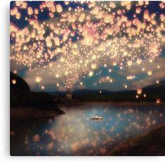 Wish Lanterns for Love Canvas Print