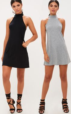 2 Pack Black & Grey Jersey High Neck Swing Dress