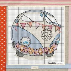 Retro bus free cross stitch pattern