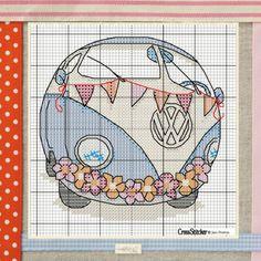 Retro bus free cross stitch pattern