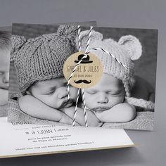 Faire-part de naissance Jeune homme : jumeaux, moustache , dans la catégorie rustiquechic Faire Part Diy, Faire Part Photo, Baby Bedroom, Baby Boy, Parents, Teddy Bear, Nursery, Kids, Moustache