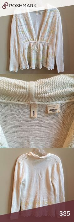 Anthropologie Moth SPRING Cardigan Size Small Anthropologie Moth Spring Cardigan Size Small. Worn Once. EUC. Cinch tie closure. Cream knit with bead and embroidered detail. From a non-smoking and pet-free posher. Anthropologie Sweaters Cardigans