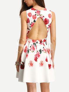 Multicolor+Sleeveless+Flower+Print+Hollow+Back+Dress+16.99
