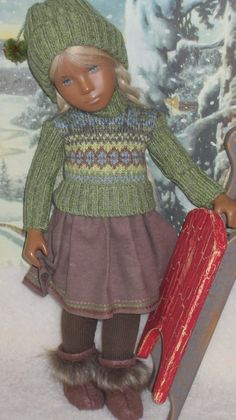 Winter Outfit by DolliePatch Sasha Doll, Vinyl Dolls, Knitted Dolls, Smock Dress, Matilda, Doll Clothes, Winter Outfits, Jan 2017, Smocked Dresses
