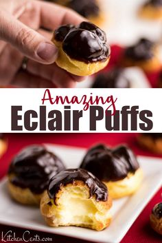 Feb 2020 - Mini Eclair shells filled with an amazing cream filling, topped with rich chocolate ganache. The same delicious eclairs recipe with a bite-sized delivery. Mini Desserts, Bite Size Desserts, Just Desserts, Elegant Desserts, Bite Size Food, Delicious Desserts, Easy Eclair Recipe, Chocolate Eclair Recipe, Chocolate Ganache