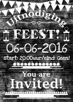 Feest hout zelf invullen e - Uitnodigingen - Kaartje2go