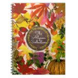 Fall Autumn Leaves Collage Monogram Vintage Wood Spiral Notebook #thanksgiving