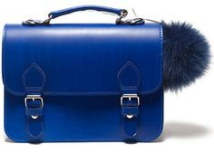 cartable maternelle / sac à main trendy en cuir bleu cobalt
