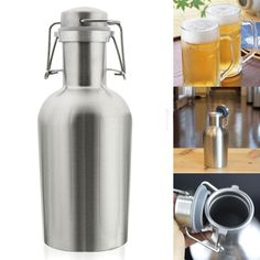 Growler with flip top lid allows for easy pouring of your favorite beverage hot or cold. 304 stainless steel single layer insulated water, tea, beer bottle. Material: stainless steel. Can not preserve heat. | eBay!