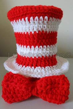 Items similar to Dr. Seuss inspired the cat in the hat Top Hat Bow Tie Photo Prop Red White Fourth of July Top hat on Etsy Baby Girl Crochet, Crochet Baby Clothes, Crochet For Kids, Free Crochet, Knit Crochet, Dr. Seuss, Dr Suess Hats, Crochet Beanie, Crochet Hats