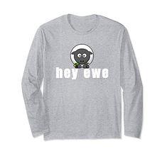 Amazon.com: Hey Ewe A Cute Sheep Long Sleeve Tee for Men Women Kids: Clothing