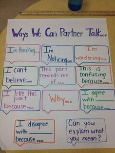How To Produce Elementary School Much More Enjoyment I Like Where This Is Going.I'd Like To Add Thick And Thin Questions For Partner Talk Teaching Tips, Teaching Reading, Partner Talk, Turn And Talk, Accountable Talk, Math Talk, Responsive Classroom, Reading Anchor Charts, Sentence Starters