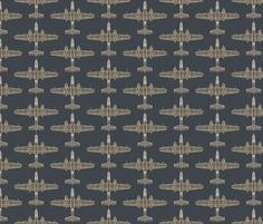 B-25 Mitchell Olive on Blue - Large fabric by jelliclestudio on Spoonflower - custom fabric