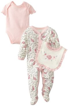 Vitamins BabyGirls Newborn 3 Piece Footed Coverall Set Rose Flowers Ivory 6 Months >>> ** AMAZON BEST BUY **