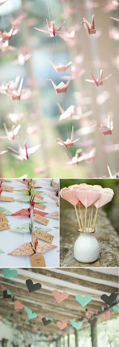 figures en papier rose, décoration mariage pas cher en papier rose origami idee…