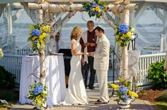 4th of July Wedding Chuppah which used blue and yellow instead of the traditional red, white and blue for the nautical setting