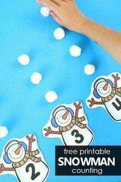 Free Printable Snowman Counting Numbers 1 to 10 and Number Words. Winter Math Activity for Preschool and Kindergarten #preschool #kindergarten #winter #freeprintable #freebie
