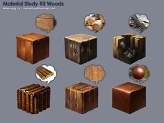 Finally I finished it ! I'm not sure if the bamboo can be a kind of wood, but it is just my preference. My favorite is the burned wood, which is I just painted. The other pieces has been done a few weeks ago. The painting method Texture Drawing, 3d Texture, Texture Painting, Digital Painting Tutorials, Digital Art Tutorial, Art Tutorials, Digital Paintings, Painting Process, Process Art