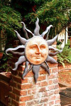 Idea for ceramic sun face Sun Moon Stars, Sun And Stars, Good Day Sunshine, Sun Art, Wall Plaques, Yard Art, Clay Art, Artsy, Pottery