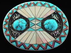Sterling Silver Turquoise MOP Mother of Pearl Red Coral Onyx Inlay Handcrafted Artwork Artisan Vintage Belt Buckle Red Coral, Turquoise, Blue Gem, Vintage Belt Buckles, Handmade Sterling Silver, Native American, Adobe, Initials, Vintage Jewelry