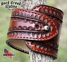 Tapered Wrist Cuff Hand Tooled Pigskin Lined by rockcreekstation