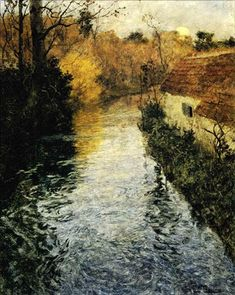 """""""A River Landscape with a Cottage in Autumn"""" oil - Fritz Thaulow"""