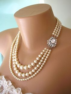Gorgeous Vintage Great Gatsby Art Deco 3-Strand Simulated Pearl And Rhinestone Necklace by CrystalPearlJewelry On Etsy, $84.00