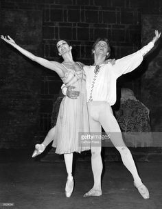 Merle Park, the ballerina as Juliet To Mikhail Baryshnikov's Romeo during rehearsals at the Royal Opera House, Covent Garden. Mikhail Baryshnikov defected in 1974 at the age of 27 from Russia during a visit to Canada by the Bolshoi troupe.