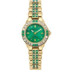 4561365da713 Women s Green Swarovski Crystal Accented Gold-Tone Bracelet Watch Swarovski  Watches