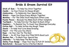 I love the idea of the bride and groom survival kit !!! :)  ☆ ADD or Follow me ---> https://www.facebook.com/heather.bowers.391   ★Order Skinny Fiber ---> www.skinnyheather.com ☆Join my Group ---> www.believeyouwillachieve.info ★Join my TEAM---> www.healthyandwealthy.info *´¨)  ¸.•´¸.•*´¨) ¸.•*¨)  (¸.•´ (¸.•` ¤ Ⓐ Ⓦ Ⓔ Ⓢ Ⓞ Ⓜ Ⓔ ❀ IDEAS!!!