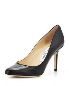 Gilbert Leather Almond-Toe Pump, Black by Jimmy Choo at Bergdorf Goodman. Leather Pumps, Black Leather, Casual Work Shoes, Work Pumps, Jimmy Choo Shoes, Black Pumps, Court Shoes, Me Too Shoes, Women's Shoes