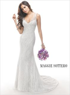 Gorgeous beaded wedding dress with tank straps, Lisa by Maggie Sottero. A gorgeous, yet understated wedding dress.