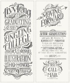 type. format. | Handwritten Type: Graduation Announcement by Livy Long, Ringling College of Art and Design Class of 2014