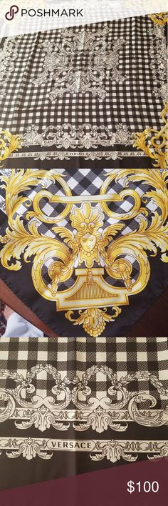 Versace Silk Scarf New without tags. Versatile black, white & gold. Versace Accessories Scarves & Wraps
