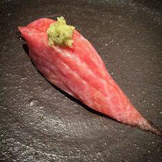 Marbled Bluefin Tuna (O-Toro) Sushi by Talented Executive Chef Kunihide Nakajima @ NAKAJIMA at Jado sushi. Simply The Best Sushi Restaurant in NYC.  Chef Nakajimas Omakase at counter there is only 8 people max at once. www.jadosushi.com #sushinakaji #jadosushi #harlem #sushi #sashimi #edomae #kaiseki #omakase #foodpic #foodgasm #sake #beers #visual_magic #newyork_instagram #photoartist #artistic #visual_heaven #chefs #instagood #photooftheday #hipsters #shadowandlight #shadow #lights…