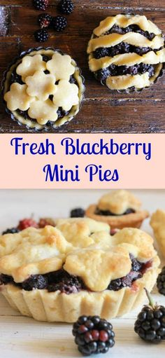 Fresh Blackberry Mini Pies, an easy homemade pie recipe. The best mini pie desse… Fresh Blackberry Mini Pies, an easy homemade pie recipe. The best mini pie dessert made with a flaky pie pastry and delicious filling. Mini Desserts, Mini Fruit Pies, Mini Pies, Easy Desserts, Delicious Desserts, Yummy Food, Summer Desserts, Plated Desserts, Blackberry Pie Recipes