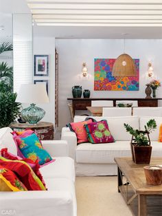Journal of Interior Design - Interior design, decoration and inspiration for your home: Apartment colored in Copacabana Indian Living Rooms, Colourful Living Room, Cozy Living Rooms, Home Living Room, Apartment Living, Living Room Designs, Living Room Decor, Deco Boheme, Deco Design