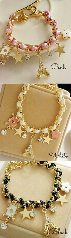 Gold Chain L eather Rope Crystal Handmade Eiffel Tower Bracelet! Click The Image To Buy It Now or Tag Someone You Want To Buy This For. Cute Jewelry, Diy Jewelry, Beaded Jewelry, Jewelry Bracelets, Jewelery, Jewelry Accessories, Handmade Jewelry, Fashion Jewelry, Jewelry Making