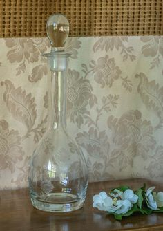 Vintage Glass Decanter Etched Glass Barware by chloeswirl on Etsy, $21.00