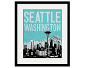 "Seattle Washington City Skyline - 8"" x 10"" - choose your color - Wall Art - Souvenir - Wedding Gift - Print - Space Needle"