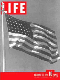 Life Magazine Cover Copyright 1941 US Goes To War Flag - www.MadMenArt.com…